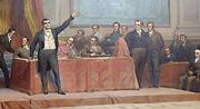 As Cortes Constituintes de 1821 que se realizaram no Palácio das Necessidades (detalhe da pintura de Veloso Salgado na Sala das