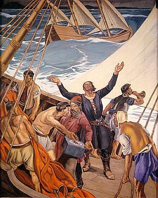 Painel representando Bartolomeu Dias dobrando o Cabo das Tormentas, depois chamado da Boa Esperança